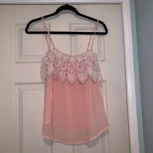 Tops - baby pink tank / tube top with lace and mesh